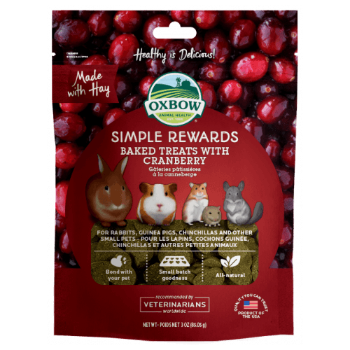 Oxbow simple rewards 3oz cranberry treats small animal