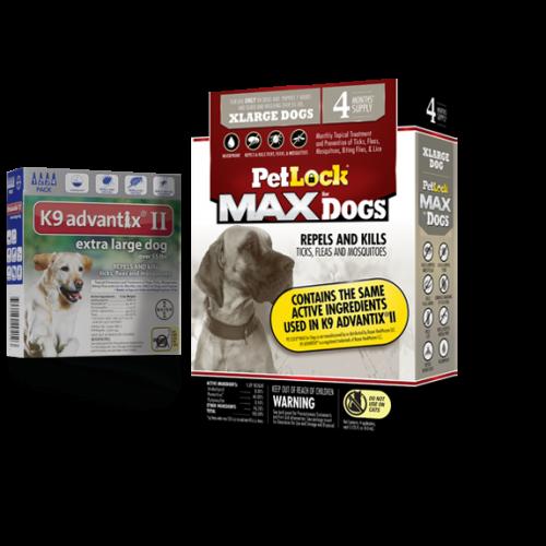 Petlock max flea tick 4 doses extra large dog