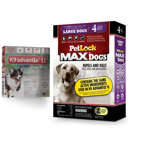 Petlock max flea tick 4 doses large dog