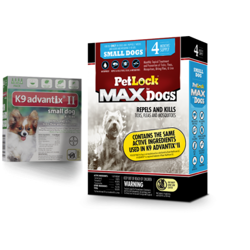 Petlock max flea tick 4 doses small dog