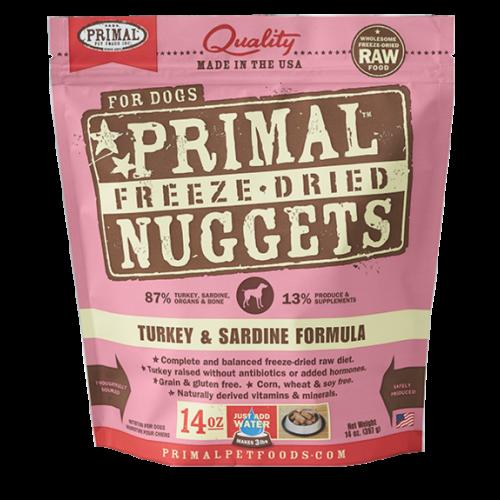 Primal freeze dried turkey sardine 14oz dog treat
