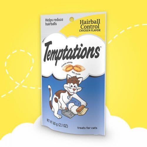Temptations 2.1oz hairball control chick cat treat