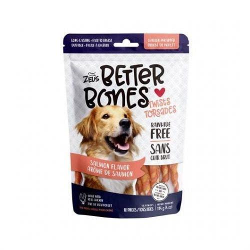 Zeus Better Bones 10 pack salmon chicken twists dog treats