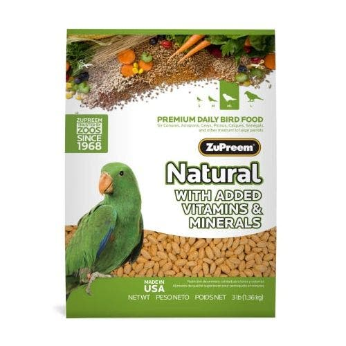 Zupreem natural parrot conure 3lb bird food